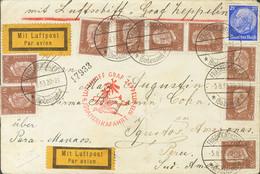 Alemania. Sobre Yv 453, 411(9). 1933. 25 P Ultramar Y 50 P Castaño, Nueve Sellos. Graf Zeppelin De FRIEDRICHSHAFEN A IQU - Unclassified