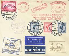 Alemania, Aéreo. Sobre Yv 28, 30(2), 35. 1933. Franqueo Mecánico De 150 P Y Sellos De Correo Aéreo De 10 P Rojo, 20 P Az - Unclassified