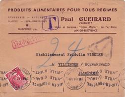 23026# LETTRE TAXE Obl AIX EN PROVENCE BOUCHES DU RHONE 1951 VILLIGEN Allemagne SCHWARZWALD DEUTSCHLAND NACHGEBÜHR - Lettres Taxées