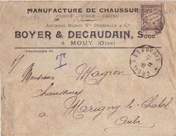 23028# LETTRE TAXE 10 Centimes DUVAL MARIGNY LE CHATEL AUBE Obl CREIL A BEAUVAIS 1916 CONVOYEUR LIGNE - Lettres Taxées