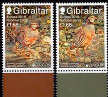 EUROPA Vogelschutz 2019 Gibraltar 1896/7 ** 11€ Rebhuhn Nationalpark Barbary Partridge Birds CEPT Set Great Britain - Grey Partridge