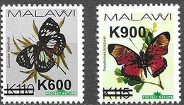 MALAWI, 2020, MNH, BUTTERFLIES, OVERPRINTS, THICK BARS , VARIETY II, 2v - Mariposas