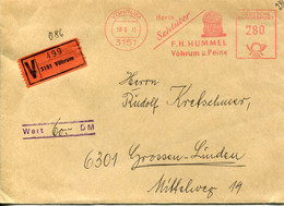 62505 Germany, Red Meter Freistempel Ema,1973,vohrum, Textil Fabrik, Textile Factory,versichert Insured Cover - Marcofilia - EMA ( Maquina De Huellas A Franquear)