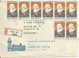 """Registered Cover Letter Prague 1970. Mi 1872 """"Hemingway"""". - Storia Postale"""