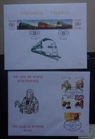 BELGIE  2001      FDC  Nr. 2993 - 2995 + 2996 - 3000 Spoorwegen +  500 Jaar  Europese Post    CW  18,00 Euro - 2001-10