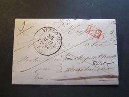 Lettre Au Départ De Vendome LOIR ET CHER 23.05.1838 PP à Destination De MER 23.05.1858 - 1801-1848: Voorlopers XIX