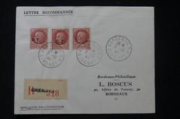 FRANCE - Type Pétain Avec Surcharges Libération De Bordeaux Se Tenant En Bande De 3 Sur Enveloppe En 1944 - L 90774 - Liberation