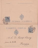ESPAGNE 1892  ENTIER POSTAL/GANZSACHE/POSTAL STATIONARY CARTE AVEC REPONSE DE ZARAGOZA - 1850-1931