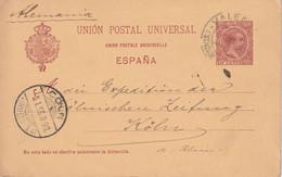 ESPAGNE 1895 ENTIER POSTAL/GANZSACHE/POSTAL STATIONARY CARTE DE VALENCIA - 1850-1931