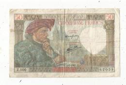 Billet , France , 50 FRANCS , Cinquante Francs , JACQUES COEUR , 17-7-1941 ,  2 Scans - 50 F 1940-1942 ''Jacques Coeur''