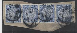 CHINA 10C DRAGON BLUE BANDE DE 4 TIENTSIN 1909 - Gebraucht