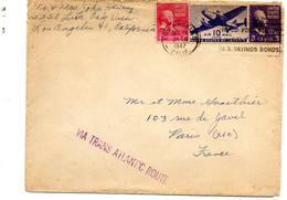 """USA. Enveloppe (cover )1947 Avec Griffe """"Via Trans Atlantic Route"""". - Briefe U. Dokumente"""