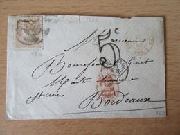 Espagne / Espana - Enveloppe Vers Bordeaux - Timbre N°88 + Taxe - Ambulant Rouge Esp. - Saint Jean De Luz - 1869 - Cartas