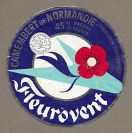 ETIQUETTE De FROMAGE.. CAMEMBERT De NORMANDIE ( Calvados 14-S).. Sélection FLEUROVENT - Formaggio