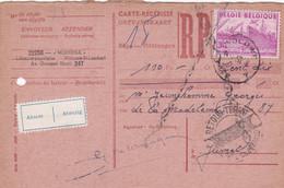 Carte Récépissé Roulette Retour Terug Impayé Onbetaald 770 Vignette Absent Afwezig - Cartas