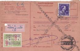 Carte Récépissé Roulette Retour Terug Impayé Onbetaald 693 Timbre Fiscal Vignette Afwezig Absent - Cartas