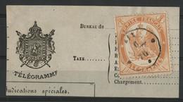 """TELEGRAPHE N° 7 1 Fr Orange Dentelé Obl. C. à D. Ondulé """"AIX -/-/70"""" Sur Un Fragment De Télégramme (voir Description) - Télégraphes Et Téléphones"""