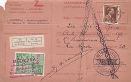 Carte Récépissé Roulette Retour Terug Impayé Onbetaald 427 Timbre Fiscal Vignette Se Présentera Au Bureau Zal Op Het ... - Cartas