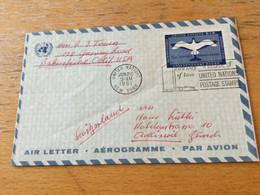 GÖ1943 UN New York Ganzsache Stationery Entier Postal Airgram From New York To Zürich - Lettres & Documents
