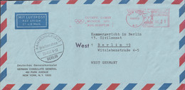 USA Airmail From Deutsches Generalkonsulat In New York W/Meter New York 1972 Olympic Games Munich 1972 (LF25) - Summer 1972: Munich