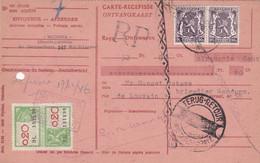 Carte Récépissé Roulette Retour Terug Impayé Onbetaald Paire 714 Timbre Fiscal Griffe RP - Cartas