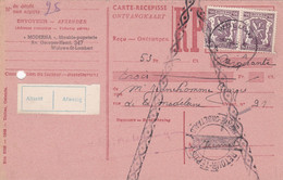Carte Récépissé Roulette Retour Terug Impayé Onbetaald Paire 714 Vignette Absent Afwezig - Cartas