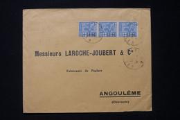 ALGÉRIE - Enveloppe Commerciale De Alger Pour  Angoulême En 1927, Affranchissement Surchargé En Bande De 3 - L 90831 - Lettres & Documents