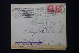 ESPAGNE - Enveloppe Commerciale De Valencia En 1937 Pour Paris Avec Contrôle Postal  - L 90837 - 1931-50 Briefe U. Dokumente