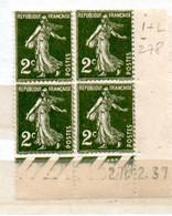 FRANCE N° 278 2C VERT FONCE  TYPE SEMEUSE CAMEE BAS DE FEUILLE COIN DATE DU 27.12.1937 NEUF SANS CHARNIERE - 1930-1939