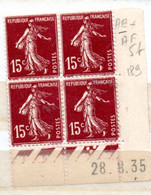 FRANCE N° 189 15C BRUN LILAS  TYPE SEMEUSE CAMEE BAS DE FEUILLE COIN DATE DU 28.8.1935 NEUF SANS CHARNIERE - 1930-1939