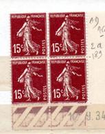 FRANCE N° 189 15C BRUN LILAS  TYPE SEMEUSE CAMEE BAS DE FEUILLE COIN DATE DU 12.9.1934 NEUF SANS CHARNIERE - 1930-1939