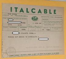 V497Telegramma ITALCABLE VERDE Copia Di Telegramma Ricevuto Per Telefono - Documentos Históricos