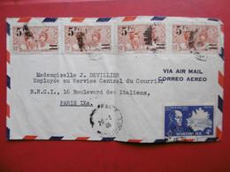 LETTRE DE MARTINIQUE TIMBRES SURCHARGE VIA PARIS AIR MAIL 1946 - Lettres & Documents