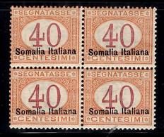Somalie Italienne Timbre Taxe YT N° 16 Type II En Bloc De 4 Neufs ** MNH. TB. A Saisir! - Somalia
