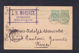 Entier Postal Belgique 5c Complété Par Timbre 5c Moriaux Henripont à Ad. Charoulet Vins De Bordeaux  Saint Emilion 45804 - Postales [1871-09]