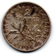 2 Francs 1904 TTB - H. 1 Franco