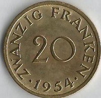 Pièce De Monnaie  20 Franken 1954 - Sarre
