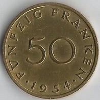 Pièce De Monnaie  50 Franken 1954 - Sarre