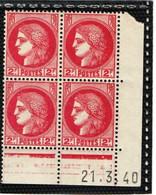 FRANCE   1938-41   Coin Daté  Y.T. N° 373  NEUF** - 1930-1939