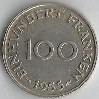 Pièce De Monnaie  100 Franken 1955 - Sarre