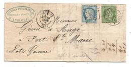 - HAUTE GARONNE - TOULOUSE GC.3980 Et Convoyeur S/TP N°20+36 + Càd T.17 - 1871 - 1870 Besetzung Von Paris