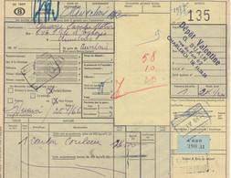 Postcolli - Colis Postaux - 135 - Charleroi - Dépôt VALENTINE Couleur / Kleur / Color - 1952-....