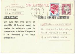 CARTE POSTALE ENTIER TYPE DÉCARIS + COMPLÉMENT TSC REPIQUAGE BUREAU COMMUN AUTOMOBILE CHALLANS VENDÉE Pour ROCHEFORT - Cartes Postales Types Et TSC (avant 1995)