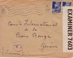 ALGERIE - ALGER - BANDE DE CENSURE OPENED BY EXAMINER 7603 PC90 - LETTRE POUR LA CROIX ROUGE A GENEVE - 16-1-1943 - Briefe U. Dokumente