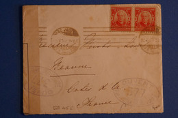 L17  BRESIL BELLE LETTRE CENSUREE 1943 SAO POLO POUR BEAUNE FRANCE+ PAIRE DE T.P + AFFRANCH INTERESSANT - Briefe U. Dokumente