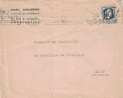 ALGERIE - CONSTANTINE - MARIANNE D'ALGER 1F50 - SEUL POUR SETIF - 9-3-1945 - ENTETE MARC MIGUERES AVOCAT AU BARREAU DE C - Briefe U. Dokumente
