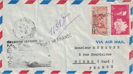 MARTINIQUE - FORT DE FRANCE - RECOMMANDE PROVISOIRE - LE 8-7-1947 - 1ER LIAISON AERIENNE DIRECTE MARTINIQUE-FRANCE - VE - Lettres & Documents