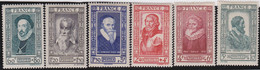 France   .    Yvert    .   587/592    .     *     .    Neuf Avec Gomme  Et Charnière     .   /   .     Mint-hinged - Unused Stamps