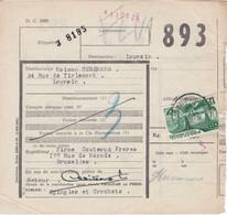 Postcolli - Colis Postaux - 893 - Bxl Firme Couteaux Frères - Epingles Et Crochets - 1952-....