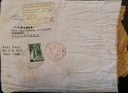 L) 1936 COLOMBIA, JOAQUIN DE CAYZEDO Y CUERO, PARCEL POST, WITH CENSOR GERMAN MARK, FROM CUSTOMS, GREEN, OVERPRINT 50 CE - Colombia